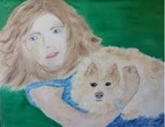 Niece Becca with our special Lady. Typical Lady pose (on any available lap). Four Legged, I Love Dogs, Poses, Becca, Lady, Painting, Fictional Characters, Figure Poses, Painting Art