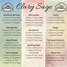 Some of my favourite diffuser blends featuring Clary Sage essential oil from doTERRA Essential Oils For Pain, Clary Sage Essential Oil, Essential Oil Diffuser Blends, Essential Oil Uses, Doterra Essential Oils, Clary Sage Doterra, Doterra Diffuser, Clary Sage Uses, Doterra Shop