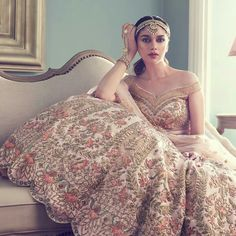 Aditi transforms into a fairy tale bride. Aditi Rao Hydari looks unbelievably stunning as the romantic bride. Indian Bridal Outfits, Indian Bridal Lehenga, Indian Bridal Wear, Pakistani Bridal, Indian Dresses, Bridal Dresses, Latest Bridal Lehenga, Indian Wear, Anita Dongre
