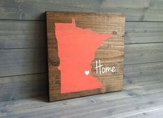 Pick Colors, Minnesota Wood Sign, Minnesota State Sign, Stained, Hand Painted, Personalize, Minnesota decor, Minnesota art
