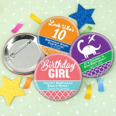 Kids Birthday Personalized Buttons Looking for a unique favor to give your guests on your special day? These one-of-a-kind pin-on Personalized Birthday Buttons are the perfect choice! Get creative by pinning them to ribbons or attaching to f
