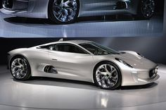 Jaguar C-X75...plug-in hybrid, The C-X75 is powered by four 145 kW (194 hp) electric motors – one for each wheel - which produce 780 hp. Top Speed: 205 mph and accelerating from (0 to 62 mph) in 3.4 seconds! Limited production of 250 units at $1.5million each...The C-X75 was named in honor of Jaguar's 75th anniversary, the C stands for concept and the X for experimental.