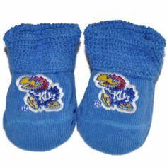 Kansas Jayhawks Two Feet Ahead Infant Baby Newborn Blue KU Socks Booties
