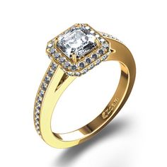 Yasssss!!!!   Stunning Asscher Cut Diamond Ring in 18K Yellow Gold