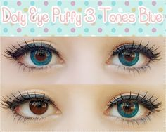 These vibrant blue circle lenses are very mesmerizing. The color pay off is exuberant. These puffy lenses add a cute enchanting pop to your eyes whilst making them look bright & eye-catching. Buy now: http://www.uniqso.com/dolly-eye-puffy-3-tones-blue