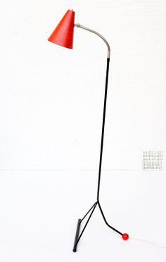 Red Rare Dutch Metal Floor Lamp by Hala Zeist