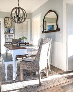 #diningroom #diningroomdecor #diningtable #sunroom #homedecorating #simplesaturday #simplelivingsaturday #farmhousediningroom #farmhousekitchen #farmhouse #farmhousechic #chandelier #wickerchair #wallpaper #decisions #farmhousechic #bhghome #bhgstylemaker #mycountryhome #plankflooring #oldhome #sunshine #homedecor #homedecoration #interiorstyling #makeahouseahome