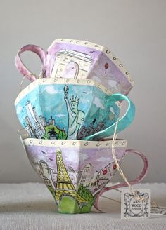 bundled up birds and paper mache teacups at anthropologie – ann wood handmade Paper Clay, Diy Paper, Paper Art, Paper Mache Projects, Paper Mache Crafts, Book Projects, Origami, Paper Tea Cups, Alice In Wonderland Diy