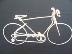 Handmade Mens Mountain Bike - Metal Wire Wall Bicycle Sculpture Decorations Art as Specialized Unique Cycling Gifts Ornaments