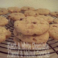 #cookies #chocolate #backen Walnut Cookies, White Chocolate, Almond, Black And White, Desserts, Food, Food Food, Bakken, Recipes