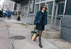Leandra Medine with Karen Walker sunglasses and Proenza Schouler bag #streetstyle #fashionweek
