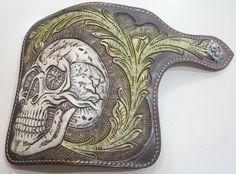 Wallet Long Biker Leather Genuine Handmade Men Mens Bifold Skull s Carved Rocker   eBay