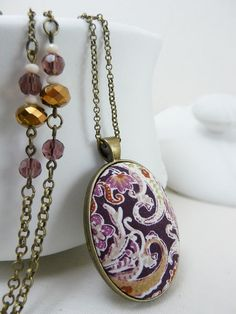 Berry floral fabric necklace - Textile Jewelry - Berry cotton fabric pendant and bronze tone chain with crystal beads. C100 by TriccotraShop on Etsy
