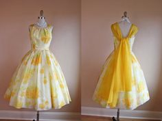 1950s Dress  Vintage 50s Dress  Yellow Roses Organdy by jumblelaya
