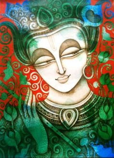 A Beautiful textured Painting by artist Rakesh Mandal in Vivid Colours Buddha Painting, Krishna Painting, Buddha Art, Krishna Art, Mural Painting, Texture Painting, Radhe Krishna, Lord Krishna, Fabric Painting