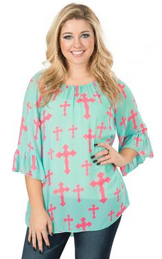 Cowgirl Hardware Women's Mint with Pink Cross 3/4 Sleeve Chiffon Fashion Top | Cavender's