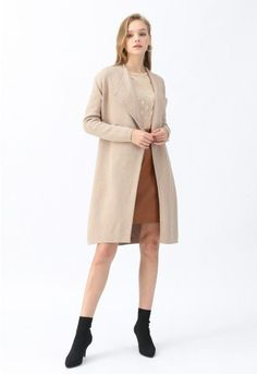 Classy Open Front Knit Coat in Light Tan - Retro, Indie and Unique Fashion Girly Outfits, Cute Casual Outfits, Pretty Outfits, Stylish Outfits, Beautiful Outfits, Fall Outfits, Fashion Outfits, Work Outfits, Fashion Shoes