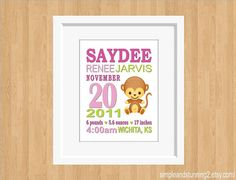 Custom Birth Announcement Print Monkey Art by SimpleandStunning2, $20.00