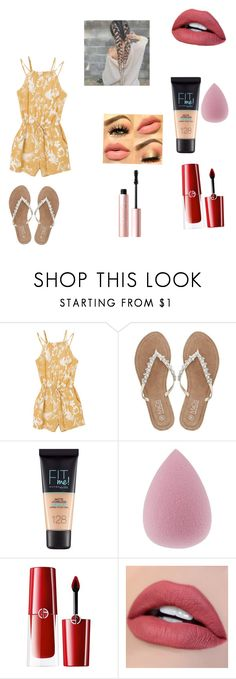 """""""Easter 🐣"""" by sydneyweaver476 ❤ liked on Polyvore featuring RVCA, M&Co, Maybelline, Giorgio Armani and Too Faced Cosmetics"""