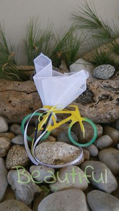 Μοντέρνα μπομπονιέρα. Μπομπονιέρα βάπτισης αγόρι ποδηλατάκι, ξύλινο δίχρωμο με κορδελίτσες χειροποίητο. Plants, Plant, Planets