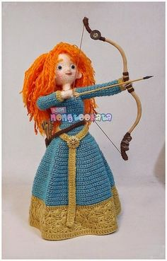 Merida,Triplets Pattern by nong Knitted Dolls, Crochet Dolls, Crochet Crafts, Crochet Projects, Crochet Doll Pattern, Crochet Patterns Amigurumi, Amigurumi Doll, Confection Au Crochet, Crochet Hook Sizes