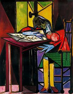 """Pablo Picasso • woman Reading"""
