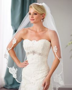 Edward Berger Bridal Veil - fingertip veil with beaded lace beginning at elbow length - Also available in cathedral length style 9181 - Final Sale Perfect Wedding Dress, One Shoulder Wedding Dress, Fingertip Veil, Designer Wedding Gowns, Wedding Dress Accessories, Beautiful Gowns, Dream Dress, Dress Collection, Bridal Dresses
