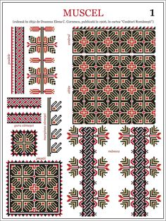 Semne Cusute: model de ie din Muscel embroidery patterns for the traditional… Folk Embroidery, Learn Embroidery, Cross Stitch Embroidery, Embroidery Patterns, Cross Stitch Borders, Cross Stitch Designs, Cross Stitching, Cross Stitch Patterns, Embroidery Techniques