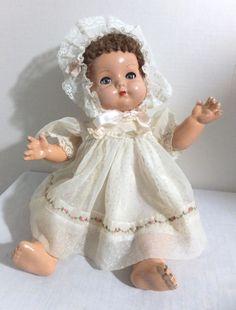 "Vintage - Effanbee - Composition Bent Limb Baby Doll w/ Caracul Hair - 16"""