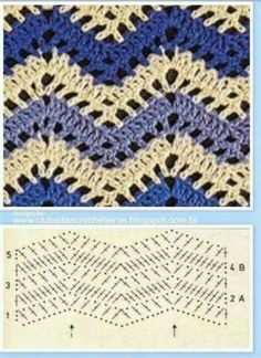 Diy Crafts - For all looking for beautiful crochet stitches with two colors, put together a wonderful collection of crochet stitches that Chevrons Au Crochet, Zig Zag Crochet, Gilet Crochet, Crochet Ripple, Crochet Motifs, Crochet Diagram, Crochet Stitches Patterns, Crochet Chart, Crochet Designs