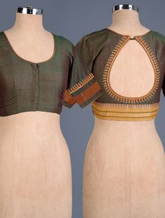 Buy Green-Maroon Embroidered Cotton Blouse Online at Jaypore.com