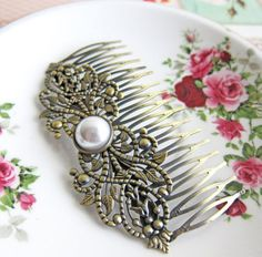 Hair Comb Bridal Headpiece Pearl Comb for Bride Fantasy Magical Fairy Tale Baroque Wedding Rococo Victorian Pearl Hair Pin Bridesmaids Gift - Jewelsalem