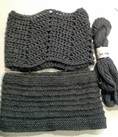 Crafty escapism: Cowls for charity. Crochet one is Morticia Chevron Cowl by Erin Chastain-Harris and knit Purl Ridge Scarf by Steven West both on Ravelry.