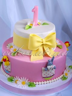 First Birthday Cakes Cake Pictures, Cake Pics, Fondant, Baby Girl Cakes, First Birthday Cakes, Cake Shop, Cake Tutorial, Pretty Cakes, Creative Cakes