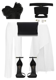 """BLACK & WHITE FORMAL"" by kwasheretro on Polyvore featuring Balmain, Isa Arfen, Oscar de la Renta, PALLAS, Yves Saint Laurent and Retrò"