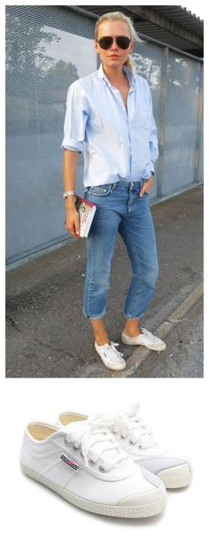 Weekend spring/summer casual style, cropped jeans, boyfriend rolled up oxford and white must have sneaker of the season.