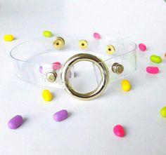 O ring soft grunge choker light gold choker 90s by YPSILONBAGS