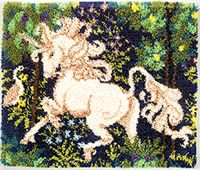"""Unicorn 30""""x36"""" kit as shown. Comes complete with easy to follow, full color graph instruction book, Latch hook blue lined 3.75 mesh canvas (for easy counting and perfect rugs every time) and 100% acrylic pre-cut rug yarn. Kit requires latch hook and rug binding to complete..see latch hook accessories."""
