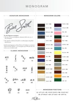 Monogram Options Individualized Shirts  @eriktampa 727-916-7848 Custom Jackets, Bespoke Shirts, Custom Suits, Tailored Shirts, Allen Edmonds, Robert Graham, Sport Coats, Men's Jeans, Men's Apparel