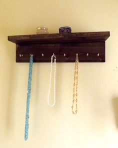 Jewelry Organizer Floating Shelf Hooks Dark by AgainstTheGrainNC