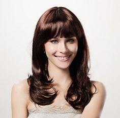 Capless Full Bang Brown Long Curly Wigs for Ladies 100% Japanese Kanekalon Fiber
