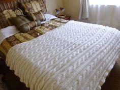 Creme color cable knit blanket