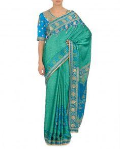 Sea Green Blue Sari
