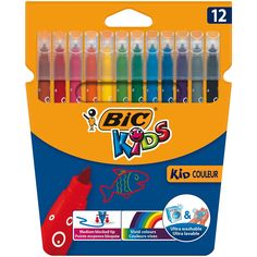 BIC Kids Kid Couleur Felt Tip Colouring Pens - Assorted Colours Cardboard Wallet of 12 Teasers Puzzles Toys Development-Activity Toys Clocks Supplies Bic Kids, Keds Kids, Activity Toys, Toddler Toys, Doll Accessories, Vivid Colors, Jigsaw Puzzles, 3 D, Stationery