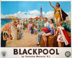 Today we are off to the not so sunny British seaside town of Blackpool. Blackpool while not as glamourous as other UK destinations it's kitsh and friendly charm has always made it one of the most popular. For generations people have danced in the ballroom, watched the night time light shows and gambled in the arcades. In the 1920s when this poster was designed Blackpool had 8 million visits a year.