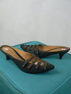 3099f4848ce7ef Chinese Laundry Matte Black Bray Buckle Leather Slides Kitten Heel Shoe NEW  C429  ChineseLaundry