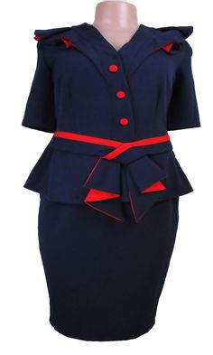 Success Woman navy blue dress with red trim - Chic Elegance Red Bodycon Dress, Peplum Dress, Special Occasion Outfits, Navy Blue Dresses, Online Boutiques, Success, Woman, Elegant, Clothes