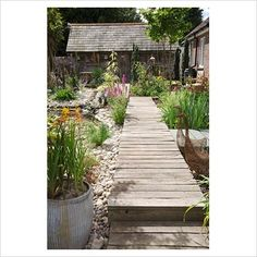 Seaside Inspired garden but not too twee - like the deck as a path and you can sit on edge and the planting beneath