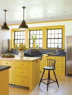 lemon yellow home decor - yellow decorating ideas My kitchen has been bright yel. lemon yellow home decor - yellow decorating ideas My kitchen has been bright yellow for more than a decade! Yellow Home Decor, Kitchen Colors, Kitchen Remodel, Kitchen Decor, Modern Kitchen, Yellow Kitchen Decor, Farmhouse Style Kitchen, Yellow Kitchen Designs, Kitchen Paint