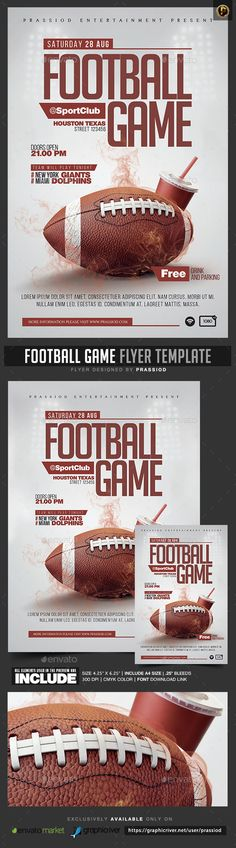 American Football Game Flyer American football, Gaming and Flyer - free sports flyer templates